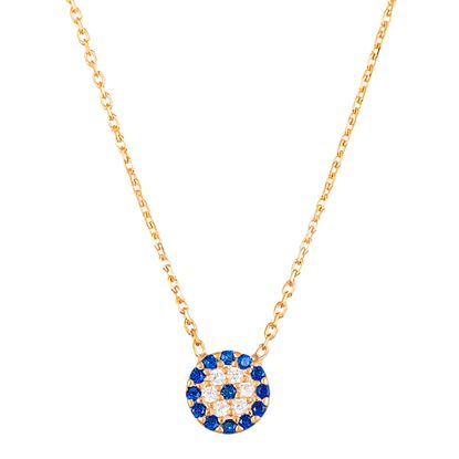 Imagen de Sterling Silver Cubic Zirconia Clear/Blue Small Evil Eye Disk Pendant Cable Chain Necklace