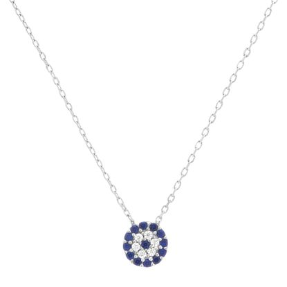 Imagen de Sterling Silver Blue and White Cubic Zirconia Evil Eye 15 Necklace