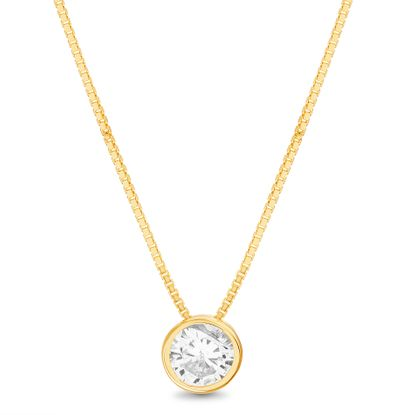 Imagen de Sterling Silver Cubic Zirconia Circle Bezel Box Chain Necklace