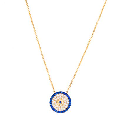 Imagen de Sterling Silver Cubic Zirconia Clear/Blue Large Evil Eye Disk Pendant Cable Chain Necklace