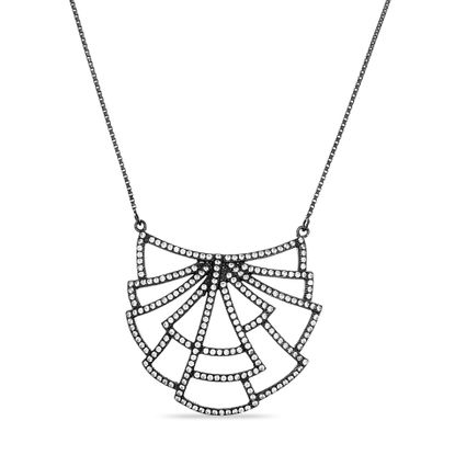 Imagen de Sterling Silver Black Onyx Geometric Station 16 Necklace