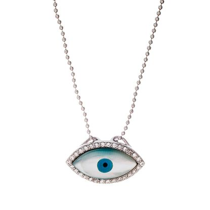 Imagen de Sterling Silver Cubic Zilconia Freshwater Station Evil Eye Pendant Beads Chain Necklace