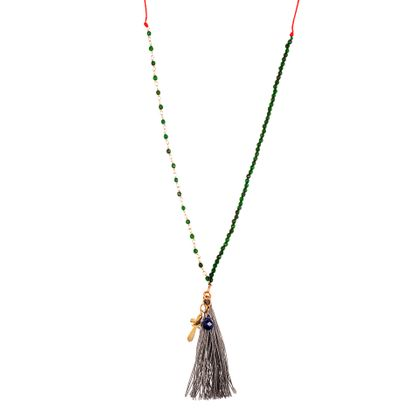 Imagen de Sterling Silver Cross and Bead with Tassel Necklace