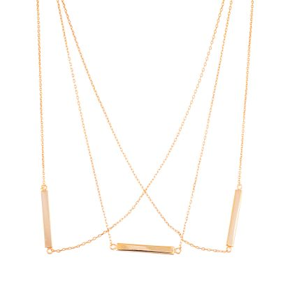 Imagen de Sterling Silver Triple Layer Rectangle Bars Necklace