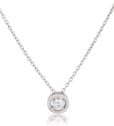 Imagen de Sterling Silver Cubic Zirconia Centered / Circle Border Cable Chain Necklace