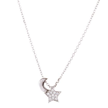 Imagen de Sterling Silver Crescent Moon and Star Necklace