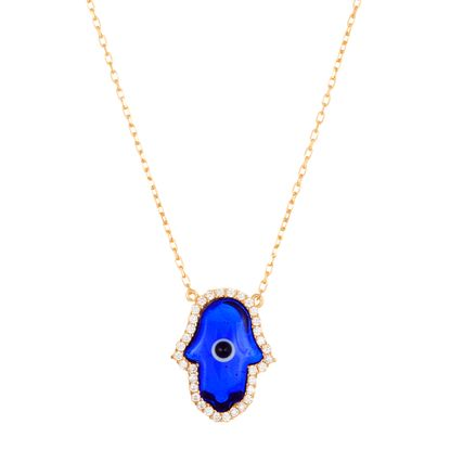 Imagen de Sterling Silver Cubic Zirconia Navy Blue Glass Hamsa Necklace
