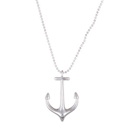 Imagen de Sterling Silver Ecoat Anchor on Bead Necklace