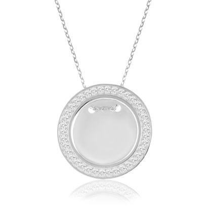 Picture of Cubic Zirconia Border 20mm Circle Necklace in Sterling Silver
