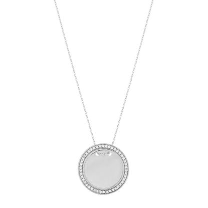 Picture of Cubic Zirconia Border 24mm Circle Necklace in Sterling Silver
