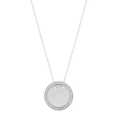 Imagen de Cubic Zirconia Border 24mm Circle Necklace in Sterling Silver