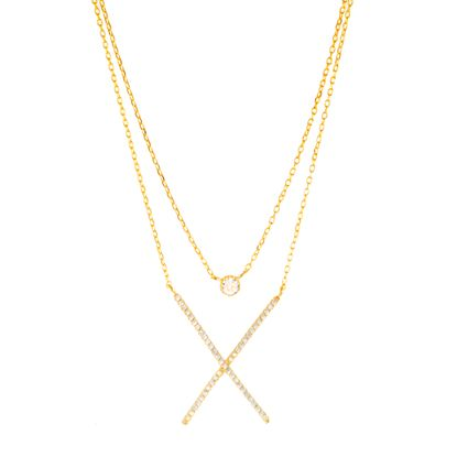 Imagen de Brass Double Layered Bezel Cubic Zirconia & X-Shaped Pendant Cable Chain Necklace