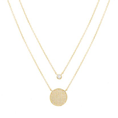 Picture of STERLING SILVER GOLD CZ BEZEL & PAVE CIRCLE STATION ON 16+2 DOUBLE-LAYER CABLE CHAIN NECKLACE