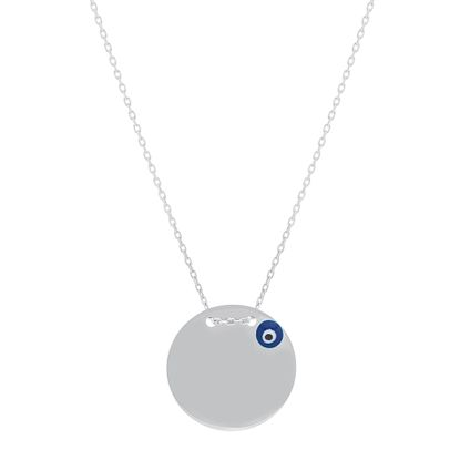 Imagen de Sterling Silver Enamel Evil Eye Polished Necklace
