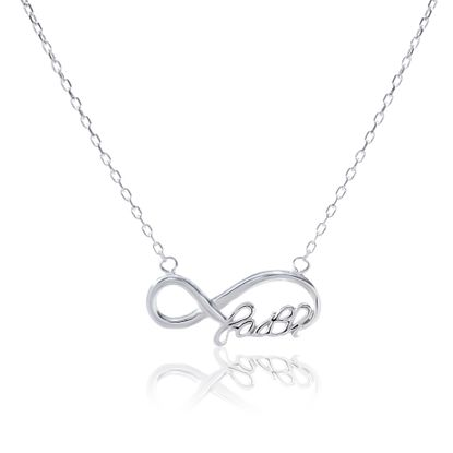 Imagen de Infinity Loop Faith Design Cable Chain Necklace in Sterling Silver