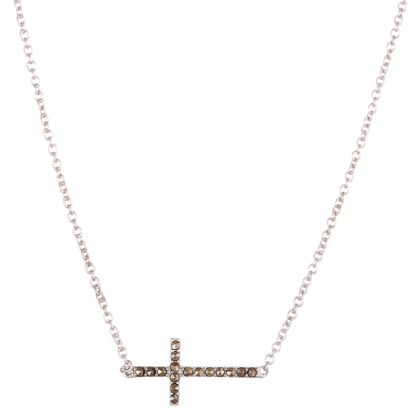 Imagen de Sterling Silver Marquisite Cross Station Cable Chain Necklace