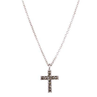 Imagen de SterlingSilver Marcasite Cross Cable Chain Necklace