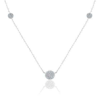Imagen de Cubic Zirconia Pave Ball Necklace in Rhodium over Sterling Silver