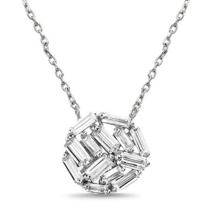 Imagen de Sterling Silver Baguette Cubic Zirconia Ball Pendant 16 Cable Chain Necklace