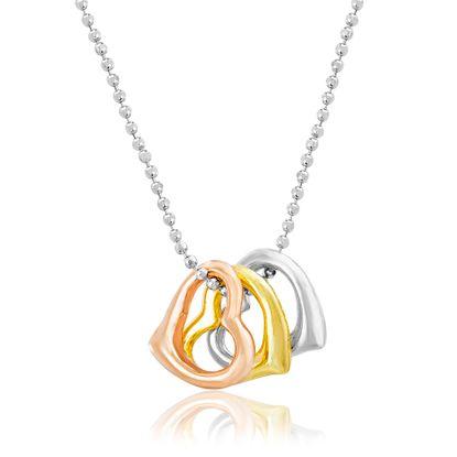 Imagen de Tri-Tone Stainless Steel Triple Heart Necklace