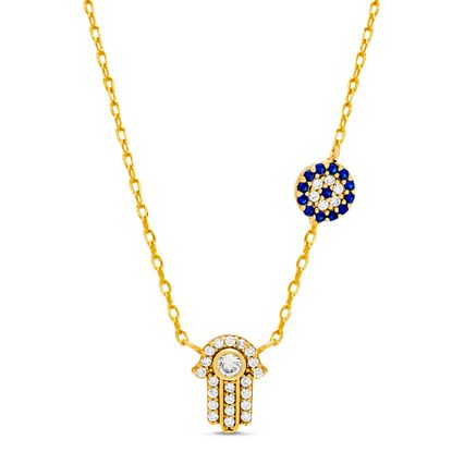 Imagen de Sterling Silver White and Royal Blue Cubic Zirconia Evil Eye Charm and Hamsa Pendant Cable Necklace