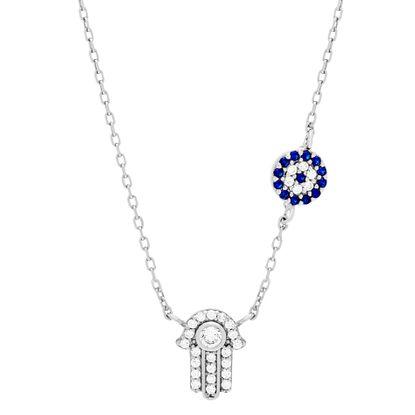 Imagen de Sterling Silver Blue/Clear Cubic Zirconia Station Hamsa/ Evil Eye Pendants Cable Chain Necklace