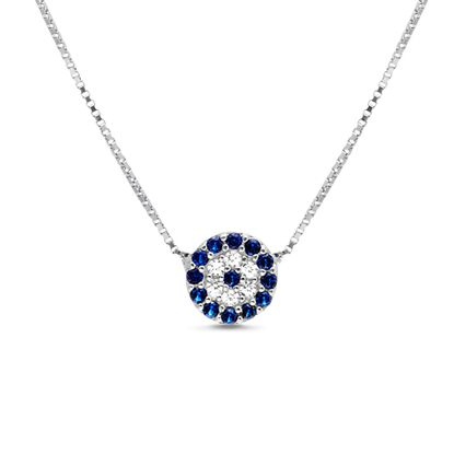 Imagen de Sterling Silver Cubic Zirconia Blue and Clear Round Evil Eye Station Box Chain Necklace