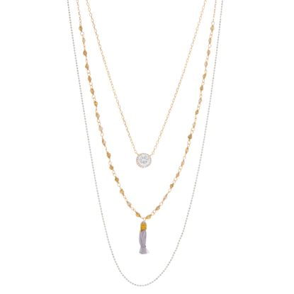 Imagen de Sterling Silver Cubic Zirconia 3 Layered  Bead and Tassel Necklace