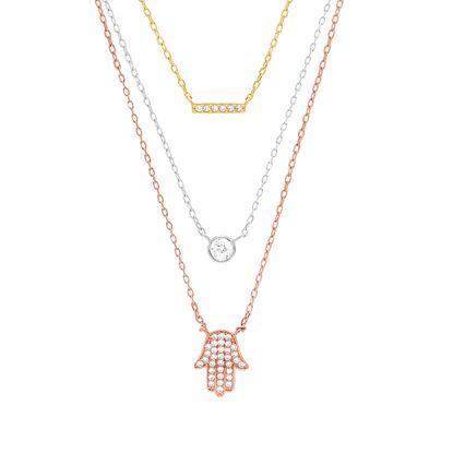 Imagen de Tri-Tone Sterling Silver Cubic Zirconia Beze/ Pave Bar & Hamsa Station Triple Layered Cable Chain Necklace