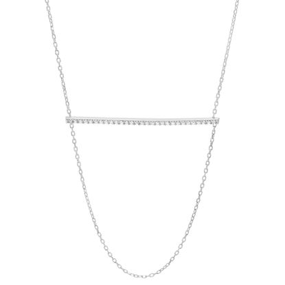 Imagen de Cubic Zirconia Bar and Rolo Loop Necklace in Sterling Silver