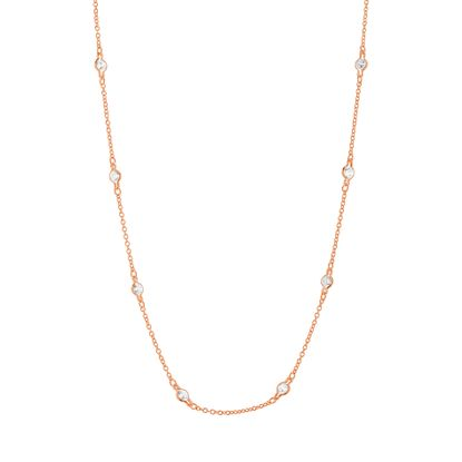 Imagen de Cubic Zirconia Station Chain Necklace in Rose Gold over Sterling Silver 16