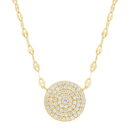Imagen de Sterling Silver Cubic Zirconia Clear Station Disk Sparkle Chain Necklace
