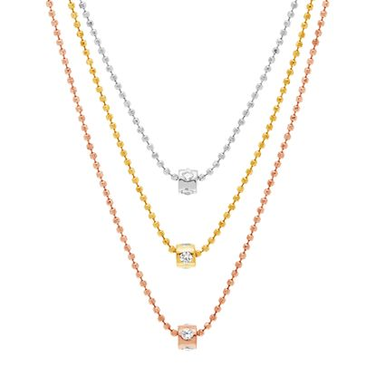 Imagen de Tri-Tone Sterling Silver Cubic Zirconia 3 Strand Ball Chain with Rondelle Necklace