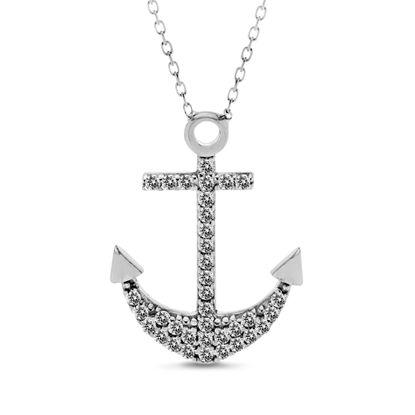 Imagen de Sterling Silver Cubic Zirconia Anchor Necklace