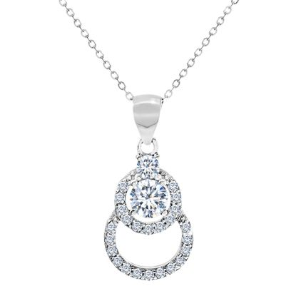 Picture of Cubic Zirconia Double Circle Necklace in Rhodium over Sterling Silver