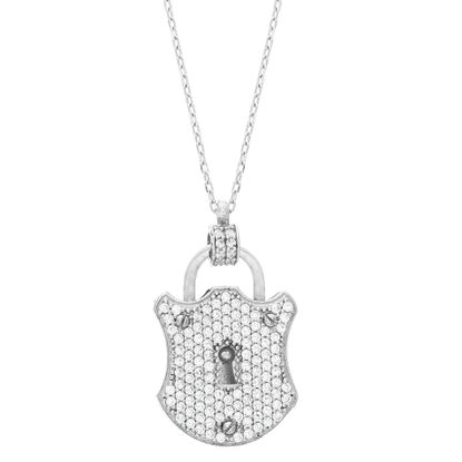 Picture of Sterling SilveR Cubic Zirconia Pave Locket Necklace
