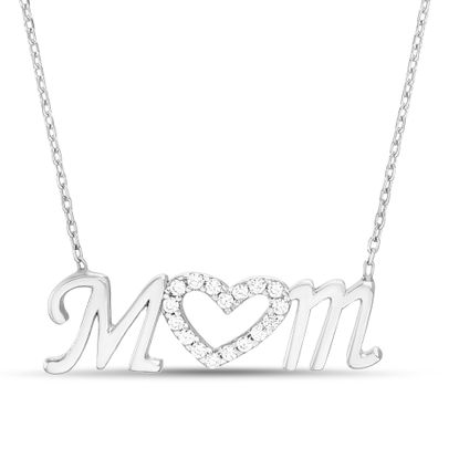 Imagen de STAINLESS STEEL RHODIUM CZ MOM HEART NECKLACE