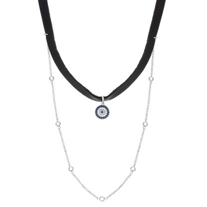 Imagen de Sterling Silver Cubic Zirconia Heart Choker with Leather Necklace