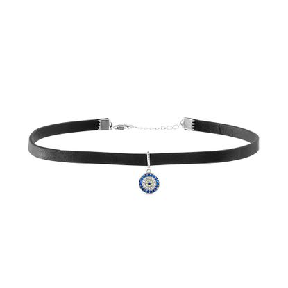Imagen de Sterling Silver Cubic Zirconia SPPR Evileye Station Leather Choker Necklace