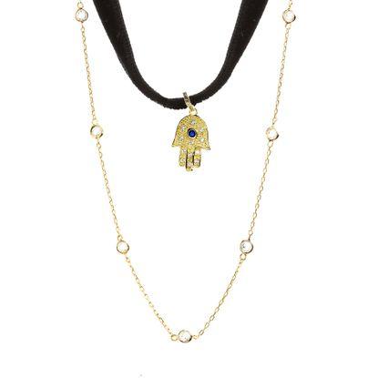 Imagen de Sterling Silver Cubic Zirconia Dangling Hamsa Choker Necklace