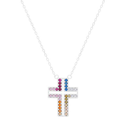 Picture of STERLING SILVER RHODIUM MULTI COLOR RED/BLUE/CLEAR/OLIVE/PEACH/ORANGE/PINK/FUCHSIA CZ CROSS 16+2 CABLE CHAIN NECKLACE