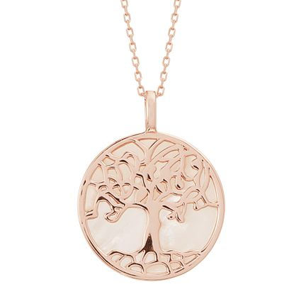Imagen de Sterling Silver Freshwater Pearl Tree of Life Disc Pendant 16 Cable Chain Necklace