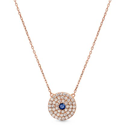 Imagen de Sterling Silver Clear/Blue Cubic Zirconia Round Evil Eye Station Cable Chain Necklace