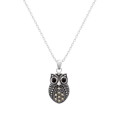 Imagen de Sterling Silver Oxidized Marcasite Owl Pendant Cable Chain Necklace