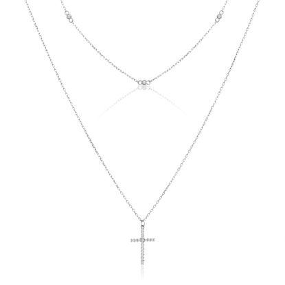 Imagen de Sterling Silver Cubic Zirconia Cross Pendant Double Layer Cable Chain Necklace