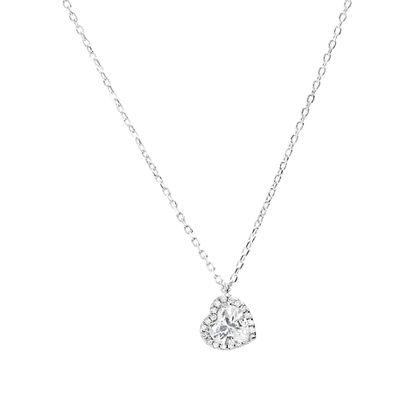 Imagen de Sterling Silver Cubic Zirconia  Open Heart Bezel  Necklace