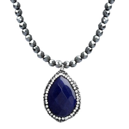 Imagen de Sterling Silver SPPR w/ Pave Border Hematite Beaded Chain Necklace