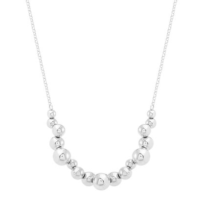 Imagen de Sterling Silver Multi Bead Cable Chain Necklace