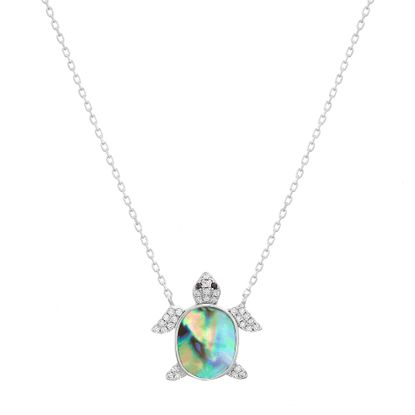 Imagen de Sterling Silver Cubic Zirconia and Abalone Turtle Pendant 16+2 Cable Chain Necklace