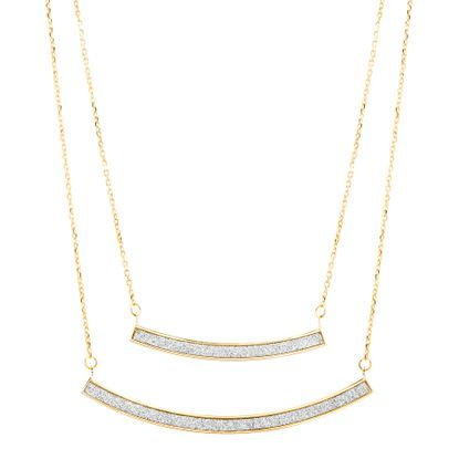 Imagen de Sterling Silver Cubic Zirconia Double Curved Bar Pendant and Double Layer Cable Chain Necklace